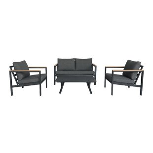 Bankhead Outdoor 4 Piece Deep Seating Group with Cushions by Brayden Studio