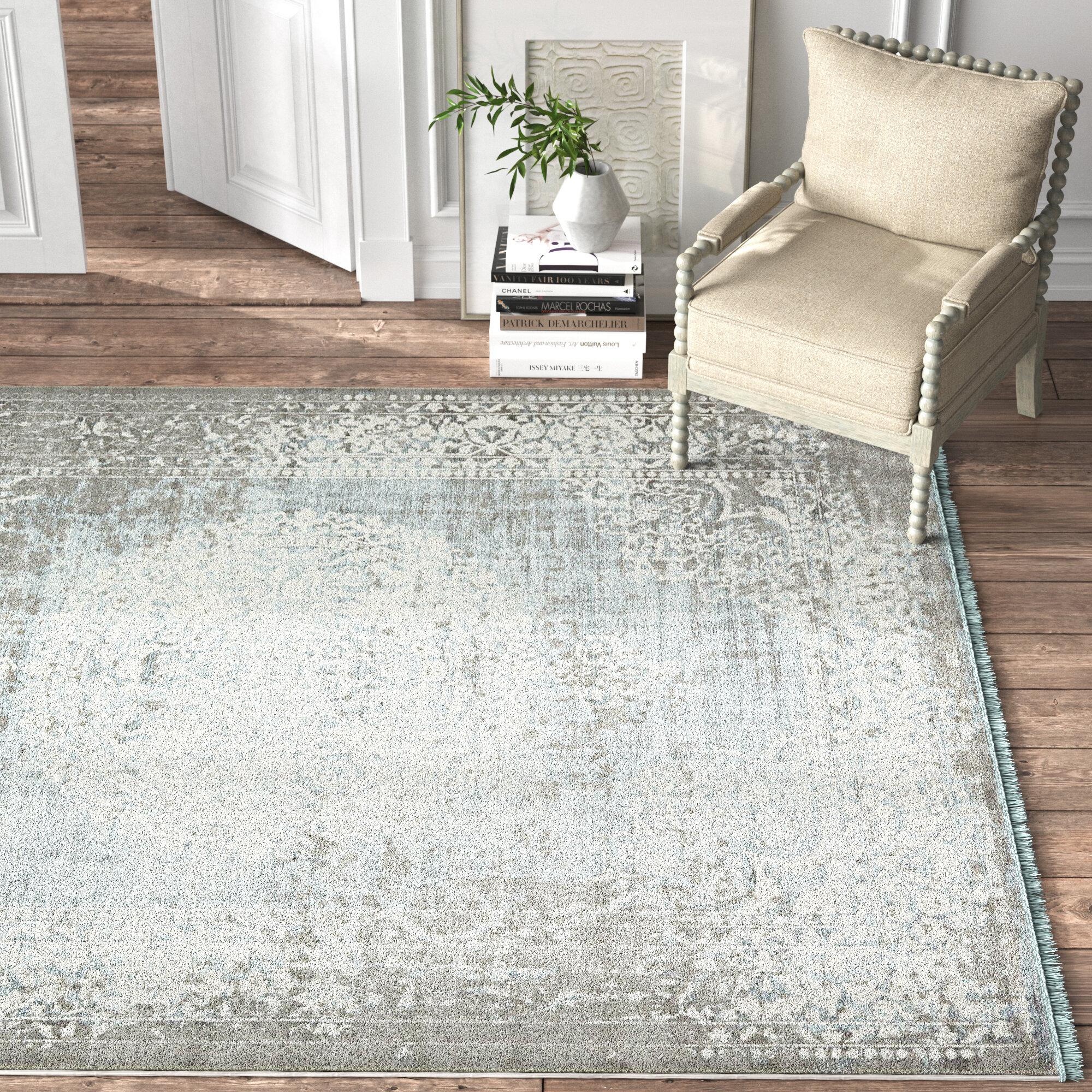Kelly Clarkson Home Coeur Power Loom Gray Light Blue Ivory Area Rug Reviews Wayfair