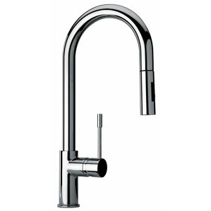 Jewel Faucets J25 Kitchen Series Single Hole Kitchen Faucet with Goose Neck Spout