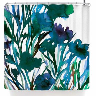 Ebi Emporium Petal For Your Thoughts Teal Single Shower Curtain