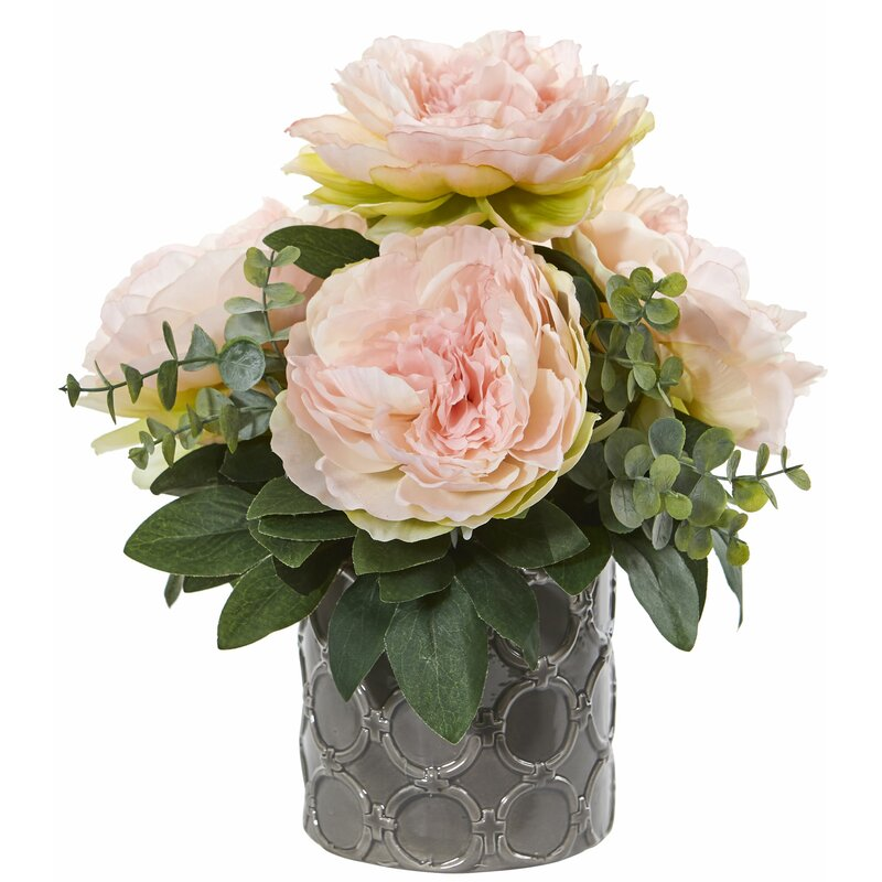 Peony and Eucalyptus Floral Arrangement in Vase