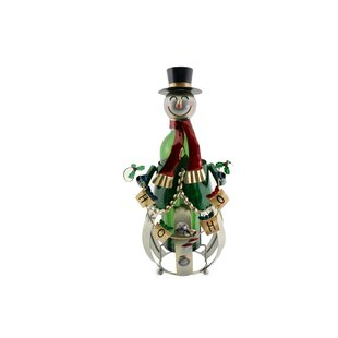 Metal Christmas Snowman 1 Bottle Tabletop..