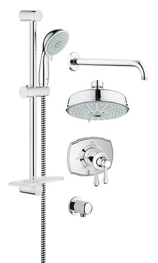 GrohFlex Thermostatic Faucet With Valve Trim, Shower Head, Hand Shower,  Shower Arm,