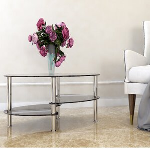 Odette 38 Oval Two Tier Glass Coffee Table