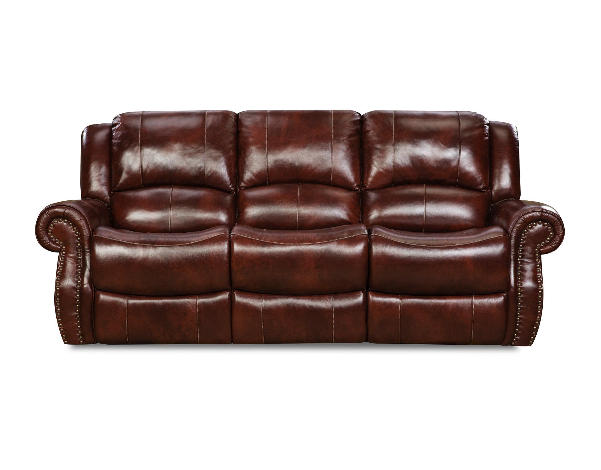 Alcott Hill Hein Leather Reclining Sofa Wayfair