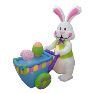Easter Inflatable Rabbit Pushing Cart with Eggs Decoration