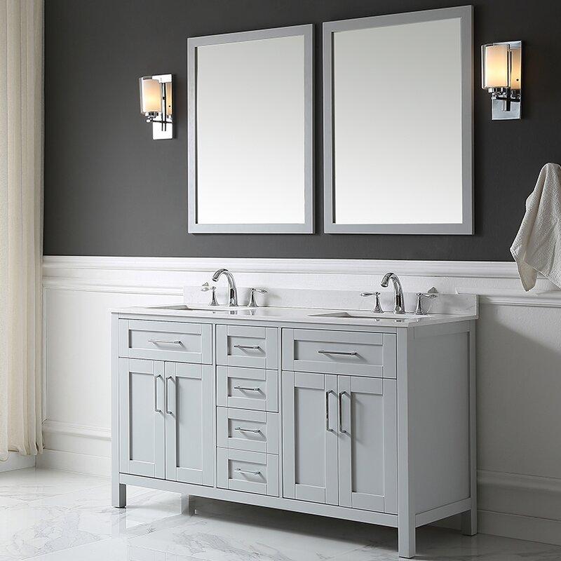 double bathroom vanity set. Tahoe 60  Double Bathroom Vanity Set With Mirror In Dove Gray Ove Decors