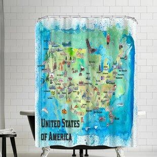 M Bleichner USA Continental States Map Shower Curtain
