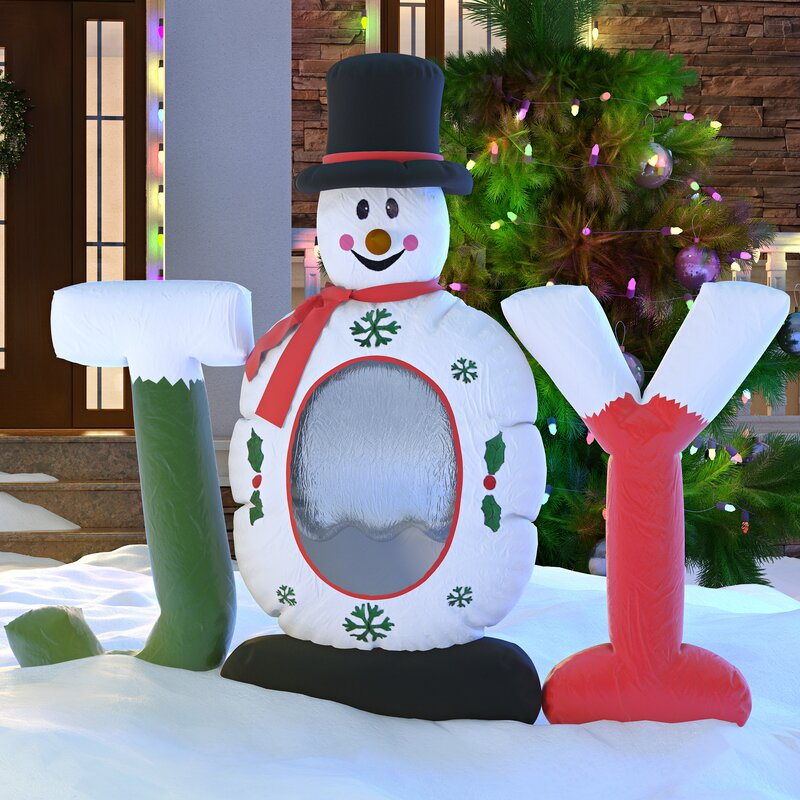 christmas inflatable joy snowman snow globe decoration - Inflatable Christmas