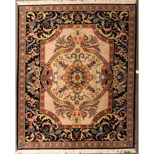 Affordable Oday One-of-a-Kind Indian Aubusson Hand-Knotted Wool Beige/Black Area Rug ByBloomsbury Market