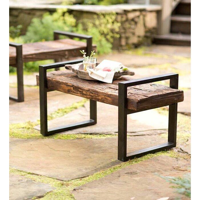 Awe Inspiring Reclaimed Wood And Iron Outdoor Garden Bench Short Links Chair Design For Home Short Linksinfo