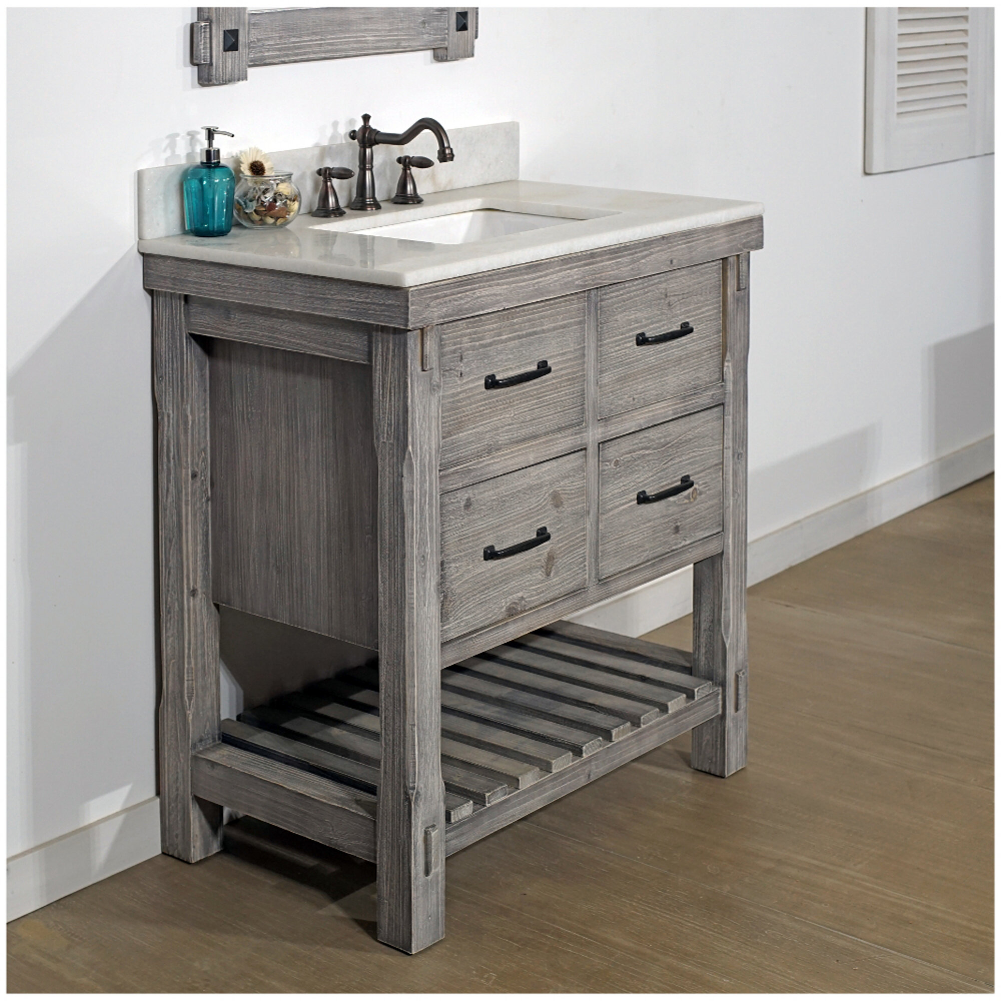 Gracie Oaks Hamm Rustic 37 Single Bathroom Vanity Set Wayfair