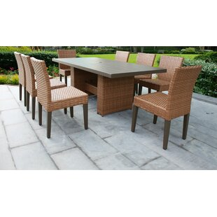 TK Classics Laguna 9 Piece Outdoor Patio Dining Set with Cushions