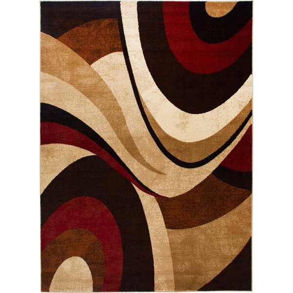 Giannini Abstract Brown Red Area Rug