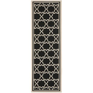 Short Black & Beige Indoor/Outdoor Area Rug
