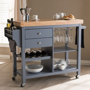 Hoglund Kitchen Cart with Wood Top Charlton Home