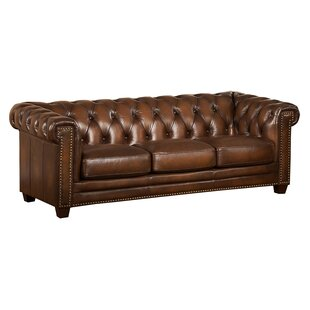 Hickory Leather Chesterfield Sofa