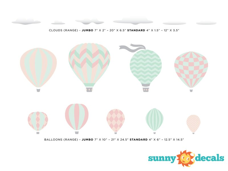 Hot Air Balloons Fabric Wall Decal