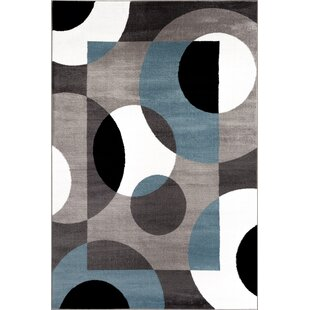Compare prices Allison Blue/Gray Area Rug By Ebern Designs