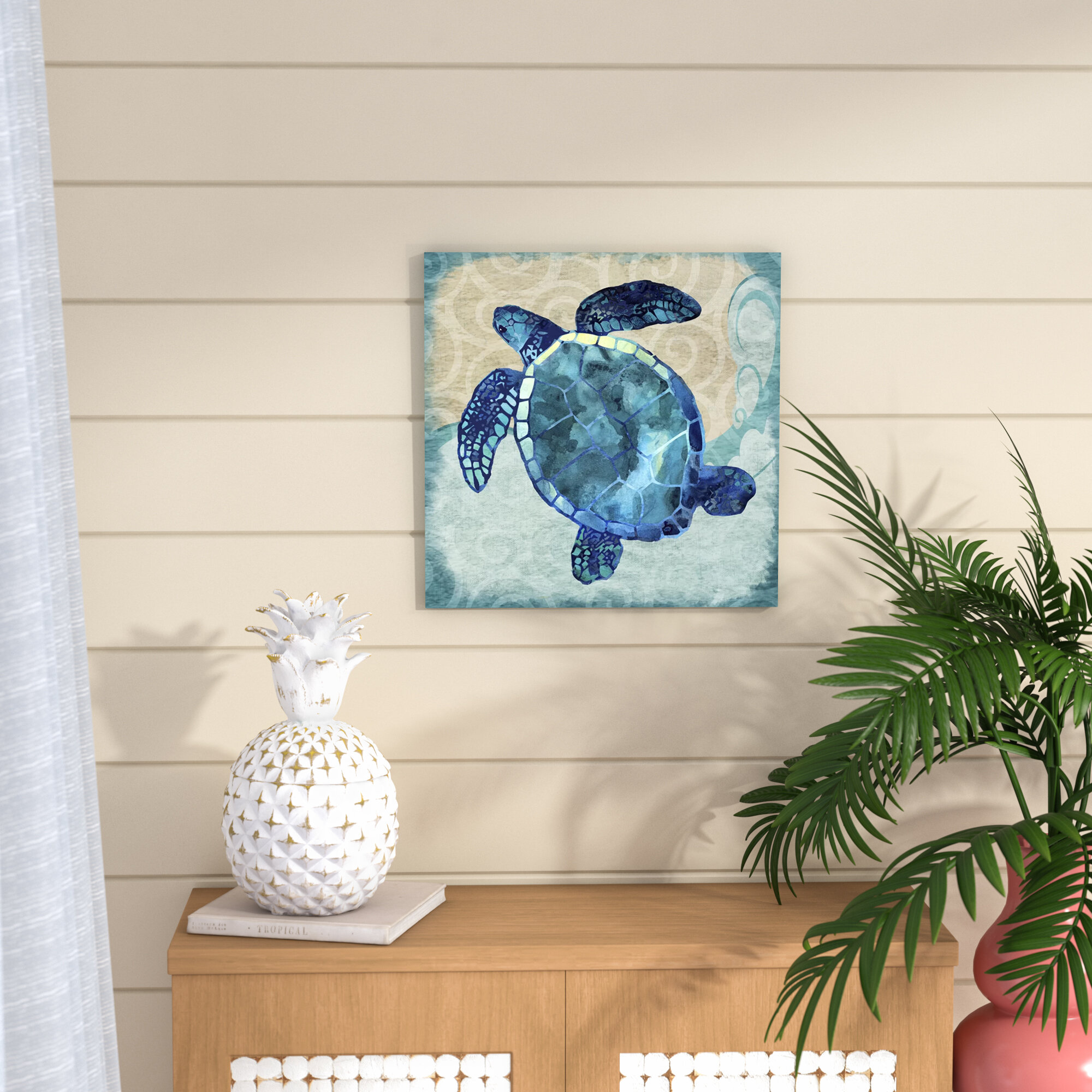 Beachcrest Home \'Sea Turtle\' Graphic Art Print on Canvas & Reviews ...