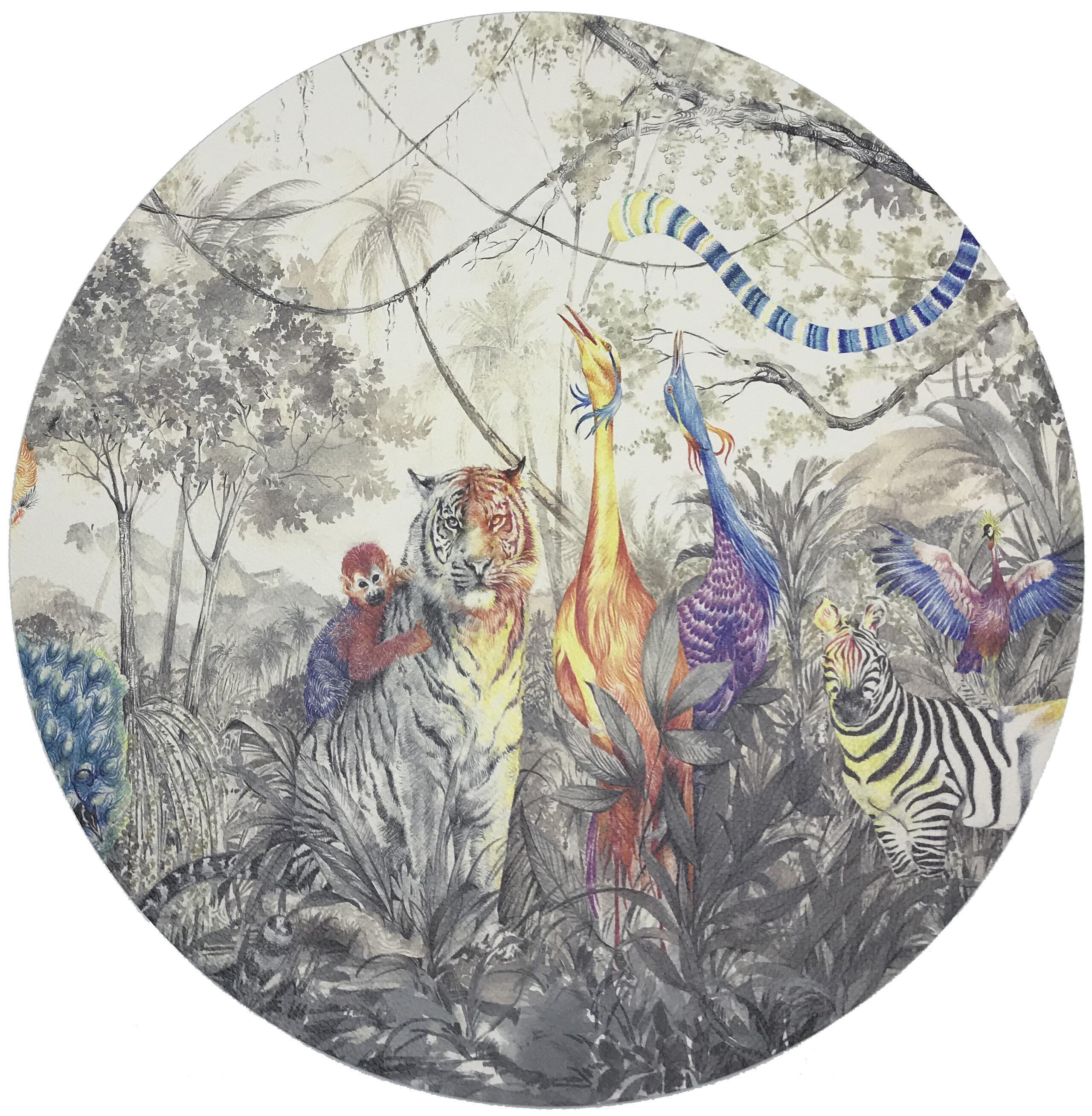 Nicolette Mayer Arcadia Tiger And Zebra Scene Pebble 16 Vinyl Placemat Wayfair