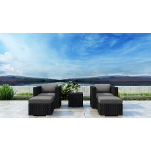 Glendale 5 Piece Conversation Set with Sunbrella Cushion by Everly Quinn