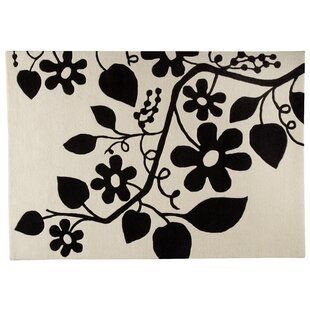 Read Reviews Flora White/Black Area Rug By Hokku Designs