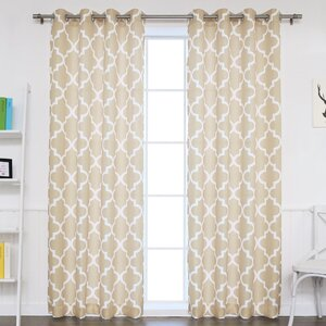 Arrey Basketweave Moroccan Geometric Semi-Sheer Grommet Curtain Panels