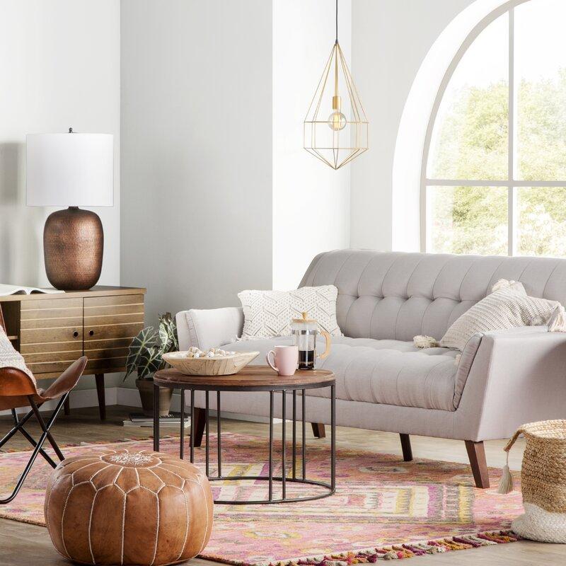 Mistana Carolos Leather Pouf Reviews Wayfair
