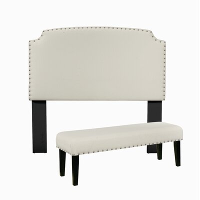 Almeida Upholstered Panel Headboard And Bench Size: King, Upholstery: White by Darby Home Co
