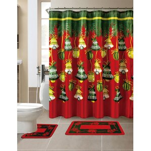maroon shower curtain set. 15 Piece Christmas Shower Curtain Set with 12 Hooks Curtains You ll Love  Wayfair