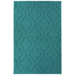 Selig Double Quatrefoil Tufted 4 x 6 Teal Indoor/Outdoor Area Rug