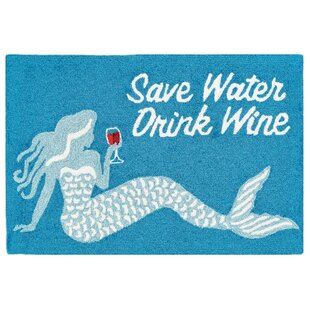 Leigh Save Water Drink Wine Hand-Tufted Ocean Indoor/Outdoor Area Rug
