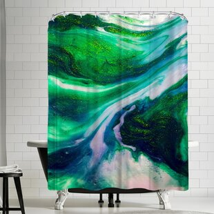 Ashley Camille Abstract Emerald Single Shower Curtain