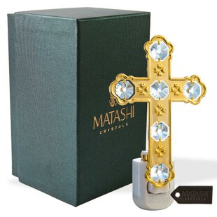 Matashi Crystal 24K Gold Plated Crystal Studded Cross LED Night Light