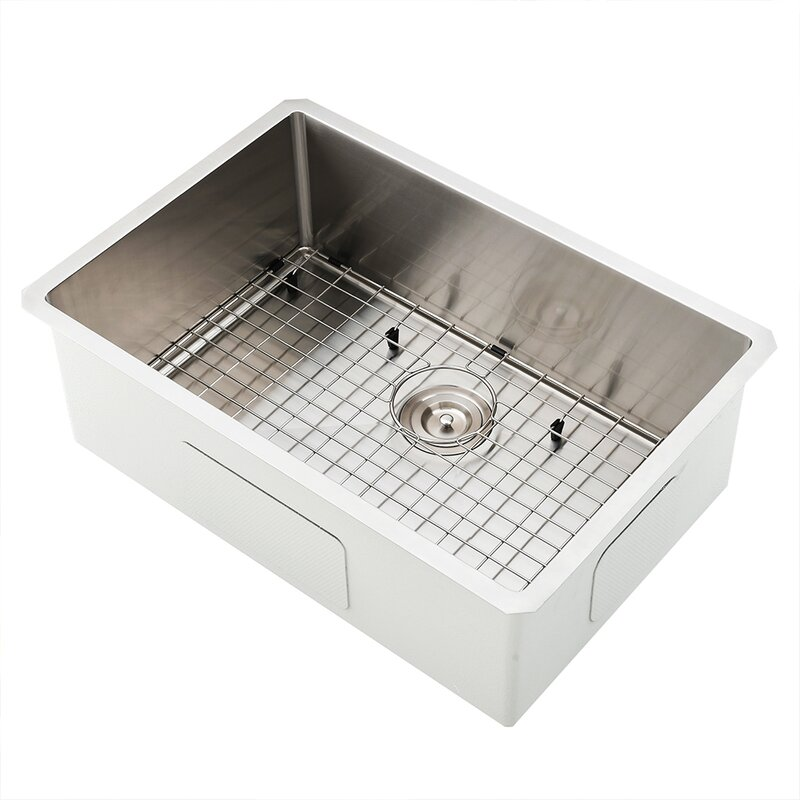 Friho 33x 22 Inch 18 Gauge Commercial Large Topmount Drop-in Single Bowl Basin Handmade SUS304 Stainless Steel Kitchen Sink,Brushed Nickel Kitchen Sinks With Dish Grid and Basket Strainer