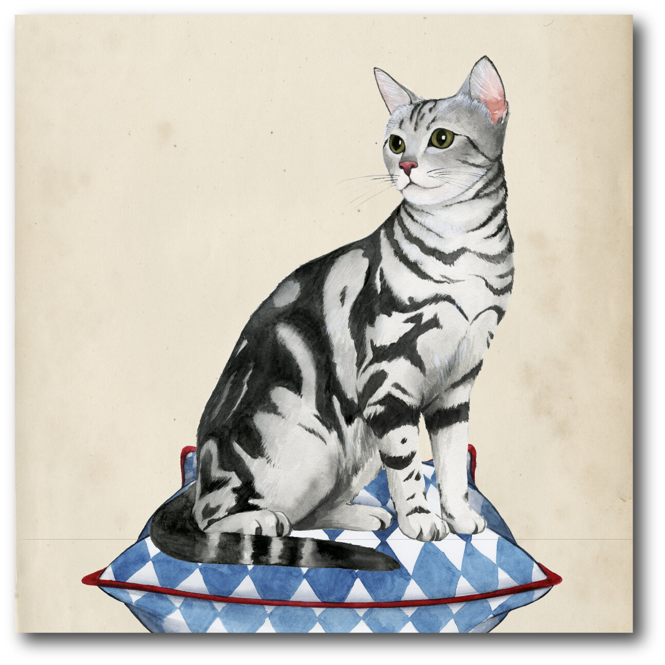 House Of Hampton Lady Cat I Framed Painting Print On Canvas In Beige Gray Wayfair