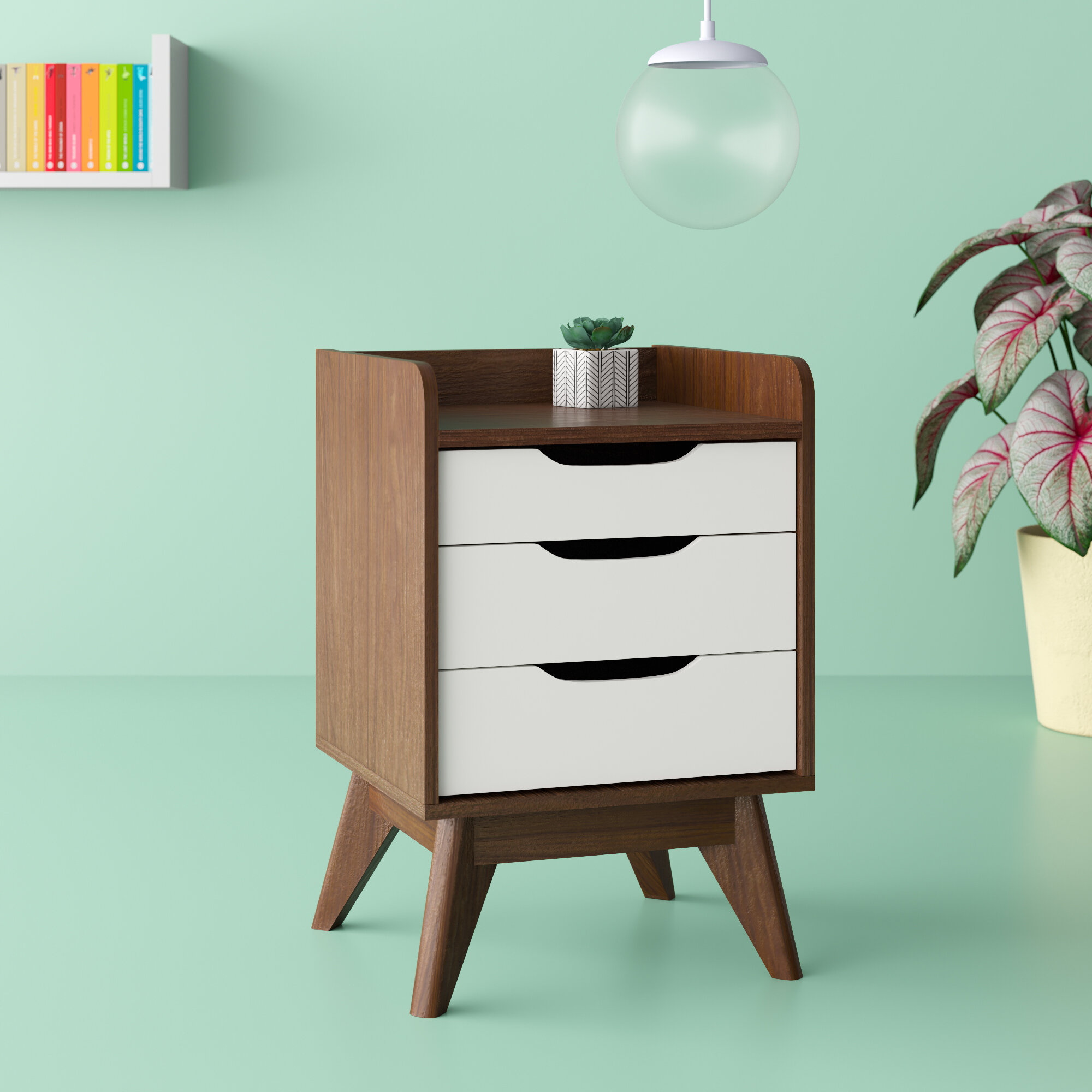 Mid Century Scandi Style Bedside Table Painted 2 Toned 3 Cut Out Drawers Pink