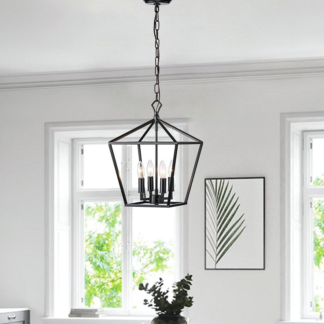 Wrought Studio Waldwick 4 Light Lantern Geometric Pendant Reviews Wayfair