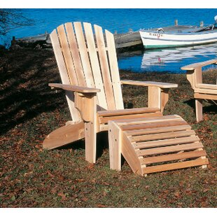 Omeara Deluxe Wood Adirondack Chair with Ottoman