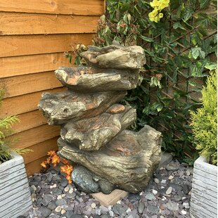 5 Tier Wood Cascade Resin Water Feature With Light By Sol 72 Outdoor