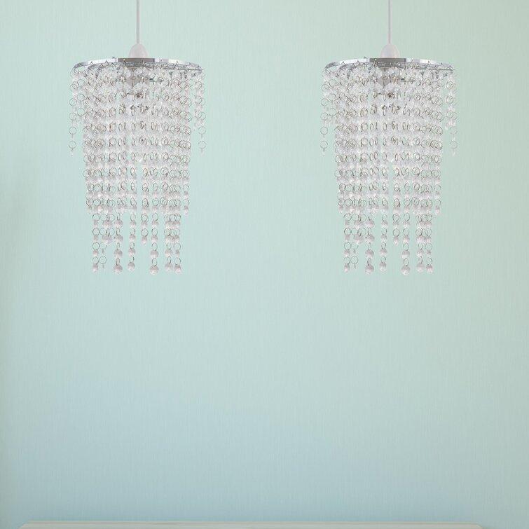 3 Tier Clear//Black Acrylic Fountain Shade Chrome frame Crystal Effect Lampshade