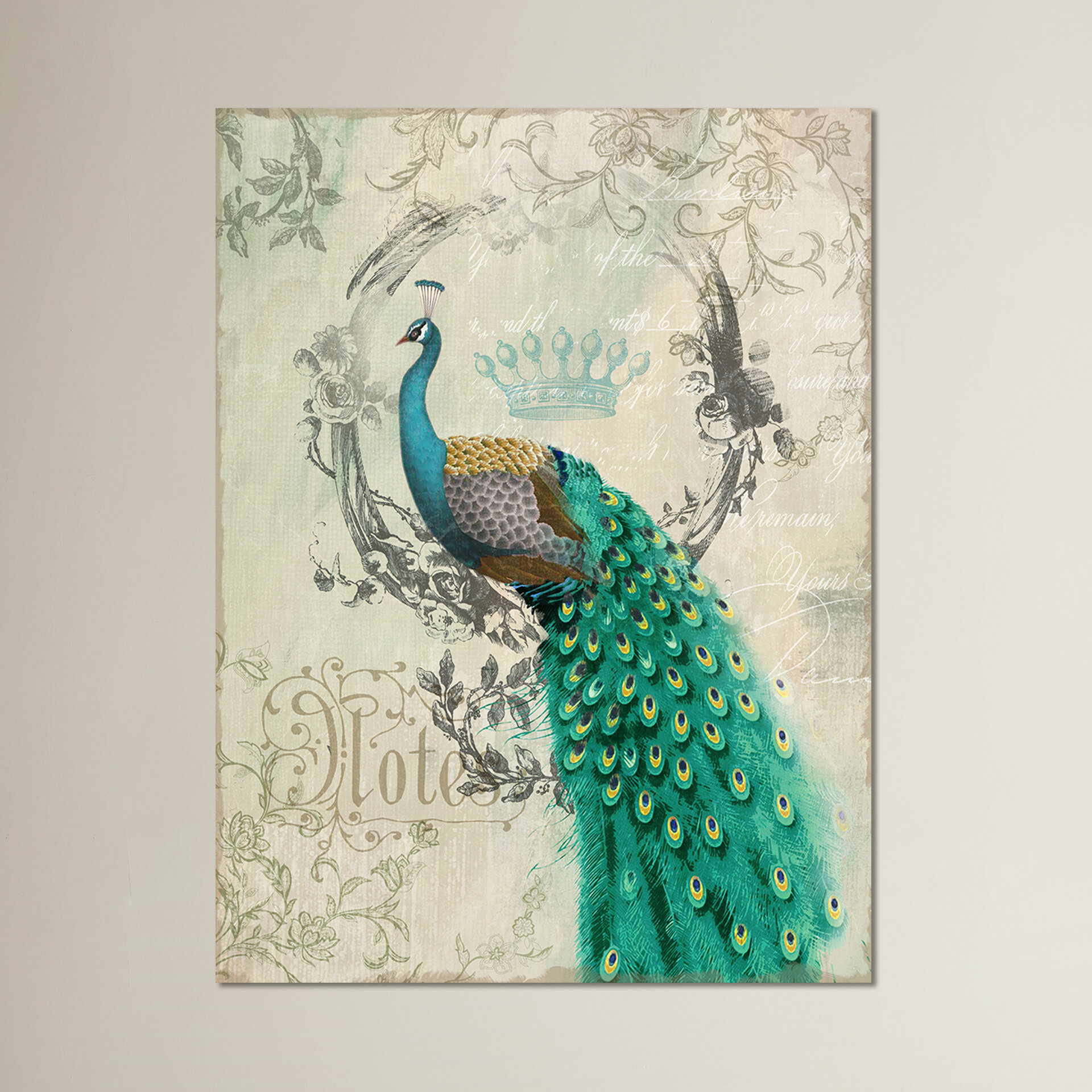 House Of Hampton Peacock Poise Graphic Art On Wrapped Canvas Reviews Wayfair