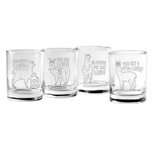 Karlson Llama Rocks 4 Piece 14 oz. Glass Everyday Glasses Set
