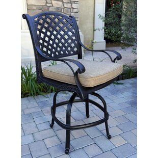 Lincolnville Patio Counter Height Swivel Bar Stool with Cushion (Set of 6) (Set of 6)