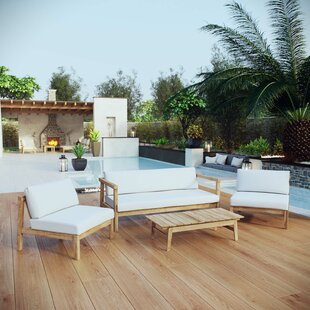 Edmeston Outdoor Patio 4 Piece Teak Sofa Seating Group with Cushions