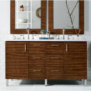 Elbridge Modern 60 Wall-Mounted Double American Walnut Hardwood Base Bathroom Vanity Set By Mercury Row