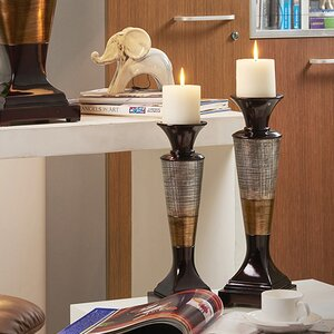 Grove Hill 2 Piece Resin Candlestick Set