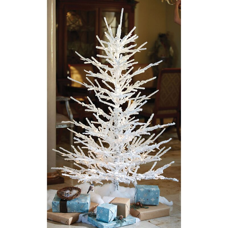 Pre Lit Christmas Twig Tree: The Holiday Aisle Pre Lit Flocked Twig 7' White Artificial