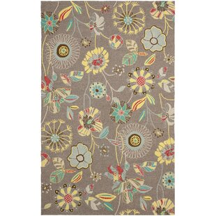 Doyle Hand-Hooked Yellow/Gray Indoor/Outdoor Area Rug
